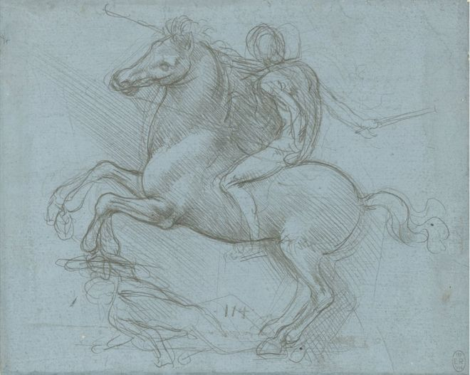 A drawing of a horse and rider by Leonardo da Vinci