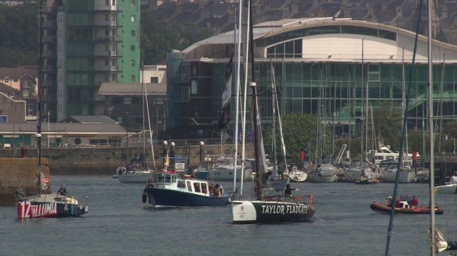 Yachts leaving Plymouth