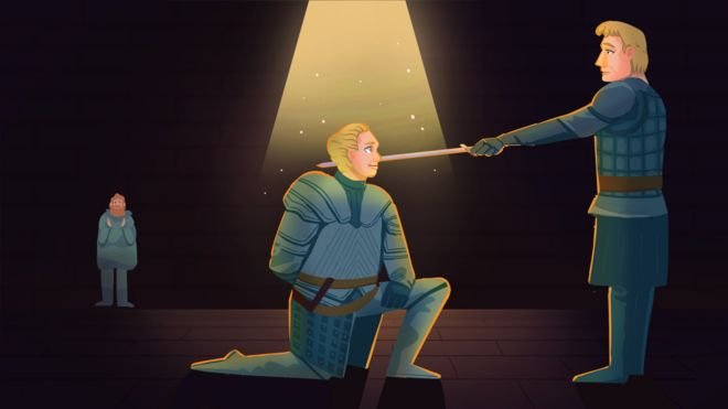 Brienne de Tarth sendo ordenada cavaleiro por Jamie Lannister