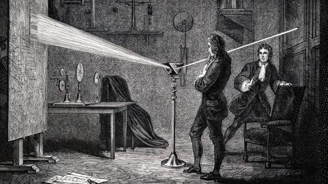Ilustração: Isaac Newton usa prisma