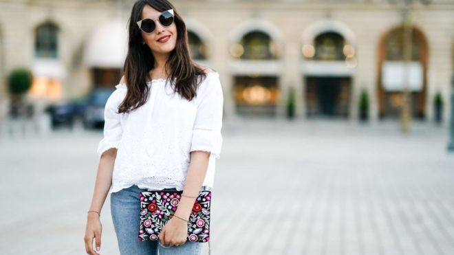 46bdcc6a9689 Fashion blogger Sarah Benziane wears a New Look white lace off-shoulder top  and New