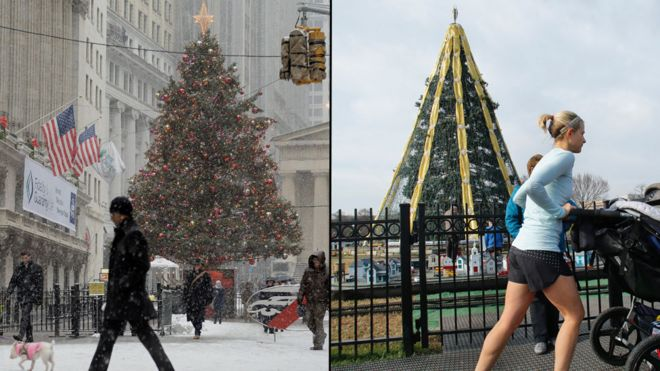 Why New York Is A Wet And Warm Wonderland This Christmas Bbc News