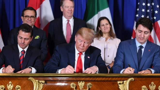 Trump signs trade deal with Mexico and Canada - BBC News