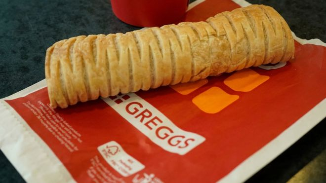 Greggs vegan sausage roll on a paper bag