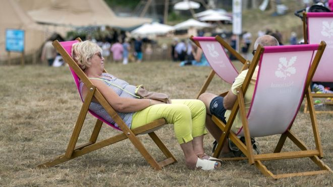 Uk weather how long will the heatwave last and other questions people on deckchairs at blenheim palace near oxford on thursday publicscrutiny Choice Image
