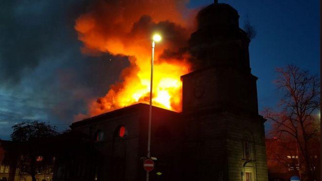 Blackburn 230-year-old church building engulfed by fire