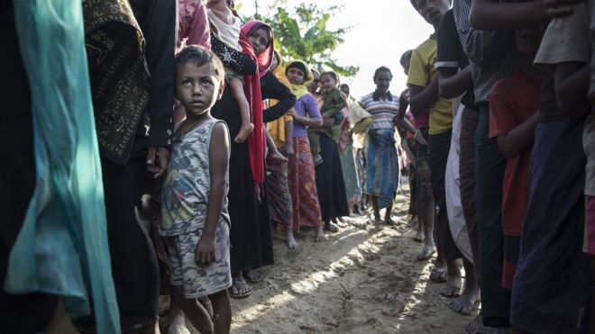 New Rohingya arrivals wait in line for humanitarian food aid from Action Against Hunger ( Action Contre La Faim ) mobile emergency support - 24 September 2017