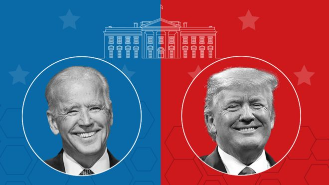 Headshots of Joe Biden and Donald Trump under a drawing of the White House