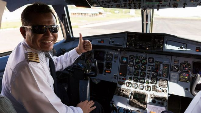An Indonesian airline pilot