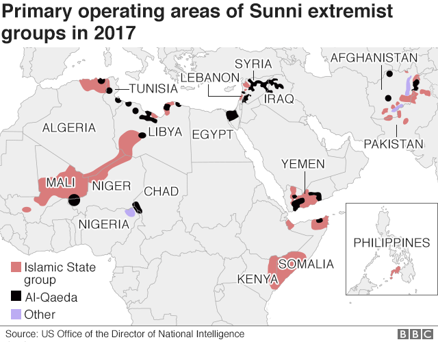 Map showing global reach of IS and Al-Qaeda