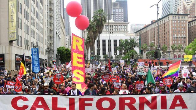 Marcha do 1º de maio em Los Angeles em 2018