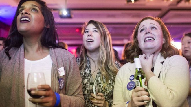 People react to 2018 midterm election results during a DCCC election watch party