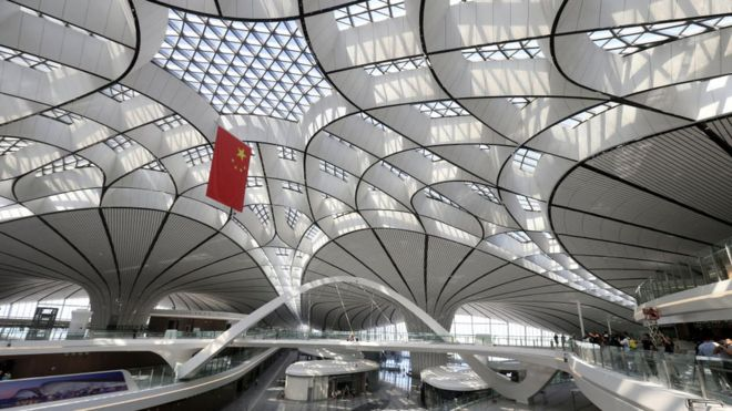 Beijing Daxing International Airport during a construction completion ceremony on June 30, 2019