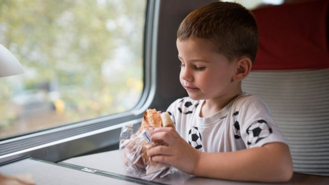 Boy eating sandwich on train