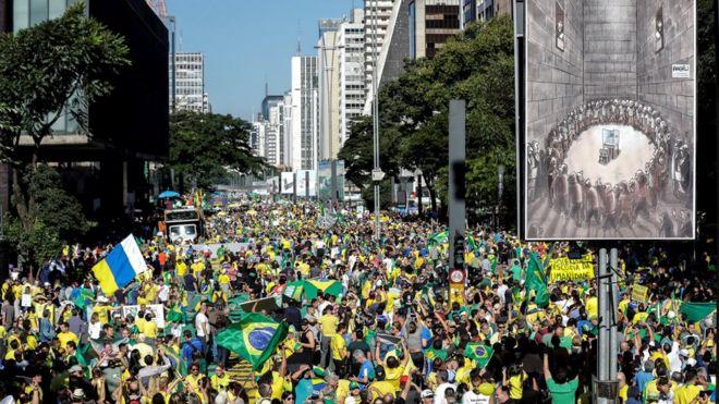 Maniestantes pró-Bolsonaro na avenida Paulista