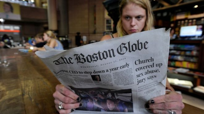 A reader of the Boston Globe newspaper, August 2018