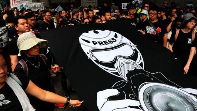 香港媒体静默游行