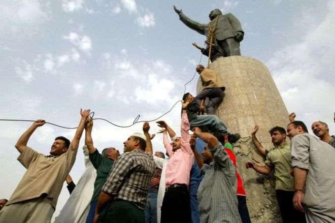 Statue of Saddam Hussein pulled down in April 2003
