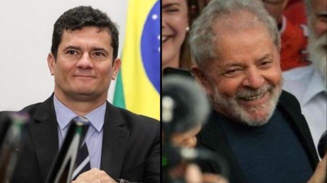 Montagem mostrando Sergio Moro e ex-presidente Lula