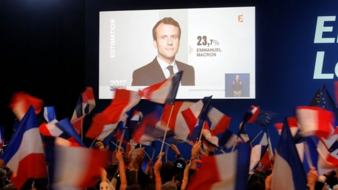 Celebrations at the campaign headquarters of Emanuel Macron