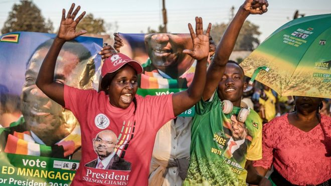 Rival party supporters in Harare, Zimbabwe