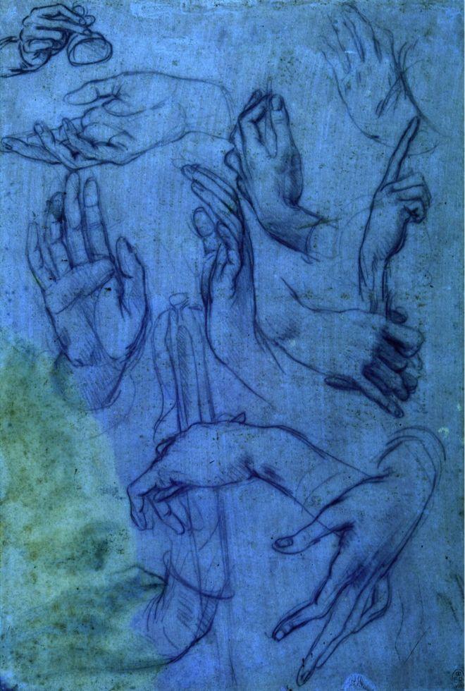 Drawings hands by Leonardo da Vinci