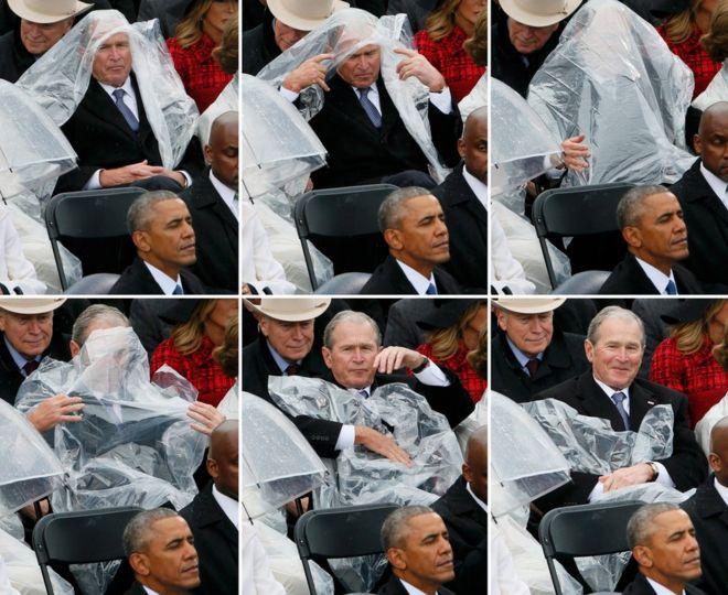 Bu resim dizisi, eski ABD Başkanı George W. Bush'un Donald Trump'de Amerika Birleşik Devletleri'nin 45. başkanı olarak Batı'nın önünde küfürde açtığı törenlerde Başkan Barack Obama'nın (L) yağmuruyla başa çıkmak için plastik bir tabaka kullandığını gösteriyor. ABD Başkenti Washington, ABD, 20 Ocak 2017.