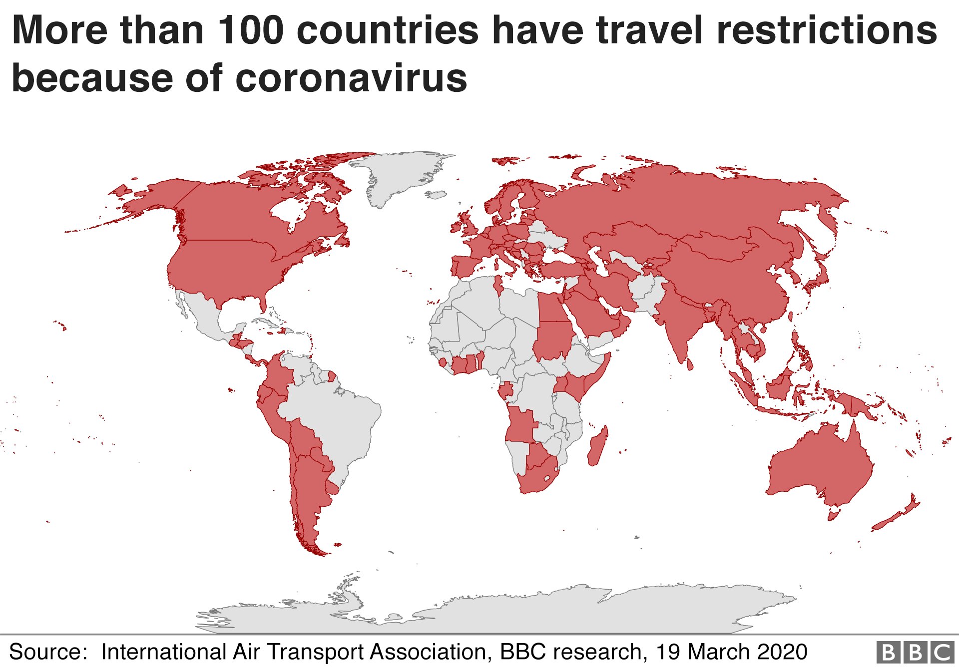 Map showing countries with travel restrictions - 19 March