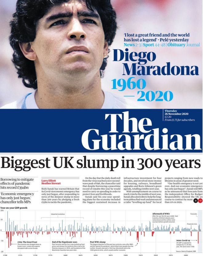 The Guardian front 26 November