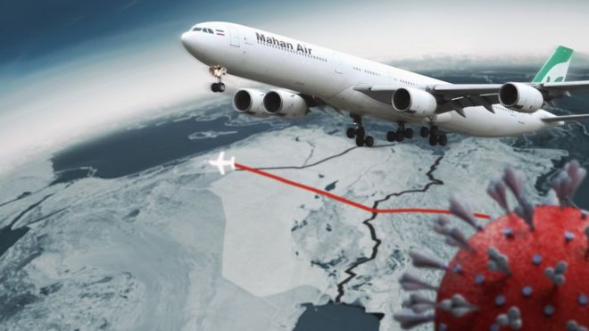 Avión de Mahan Air e imagen del coronavirus