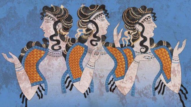 Frescos que muestran mujeres de la cultura minoica