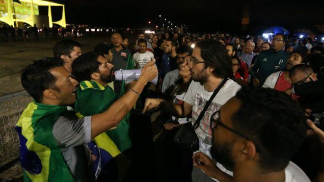 Protestos de quinta-feira diante do Palácio do Planalto
