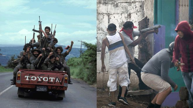 Sandinista rebels travel on the back of a pick-up truck during the Sandinista revolution./Anti-government protesters fire from a home-made mortar in 2018.