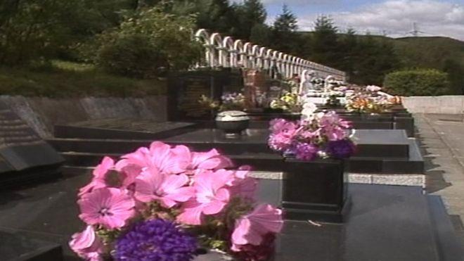 Graves at the Aberfan Disaster Memorial Garden