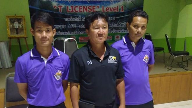 Nopparat Kantawong, the head coach of the Wild Boars youth football team