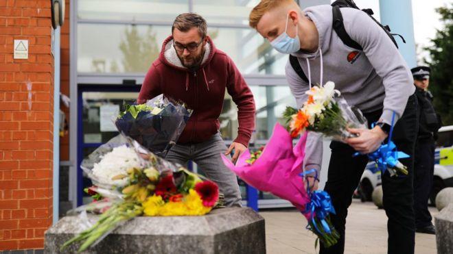 Flowers left outside Croydon Custody Centre