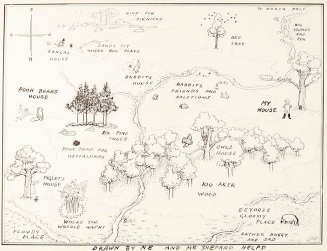 Original 1926 Winnie-the-Pooh map sells for record £430,000 - BBC on 100 aker wood map, city map, drawing of a town map, gemini map, kingdom hearts 100-acre wood map, wooden story map, 100-acre wood rally map, 100-acre wood forest map, once upon a time map,