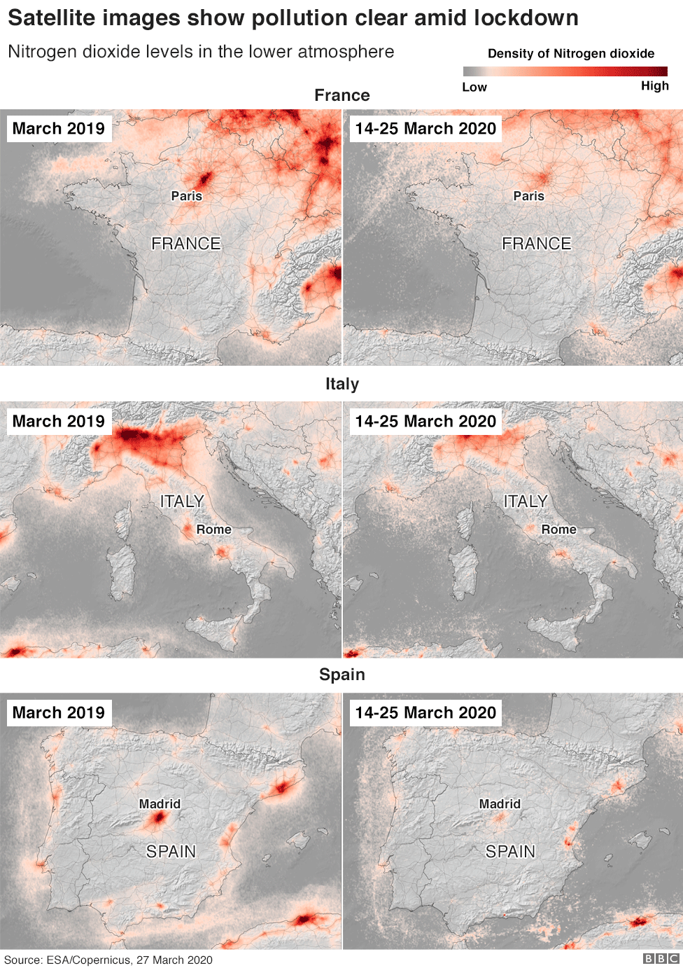 Satellite images showing level of pollutions in France, Spain and Italy