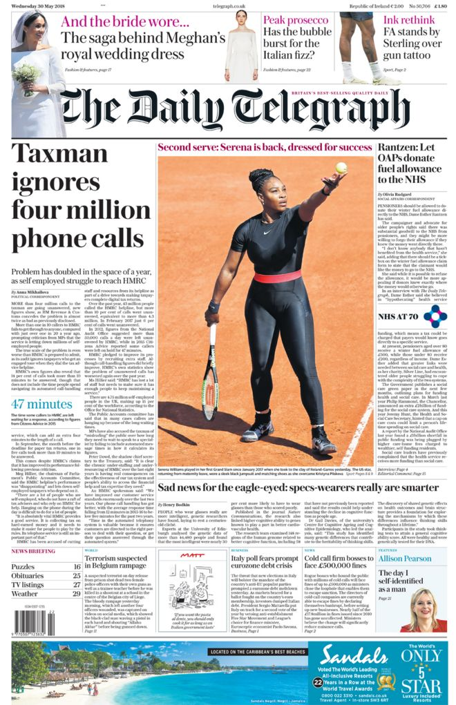 Daily Telegraph front page - 30/05/18