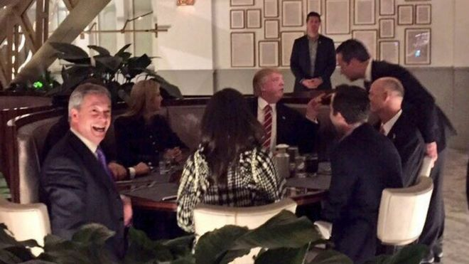 Image result for TRUMP WITH NIGEL FARAGE AT DINNER
