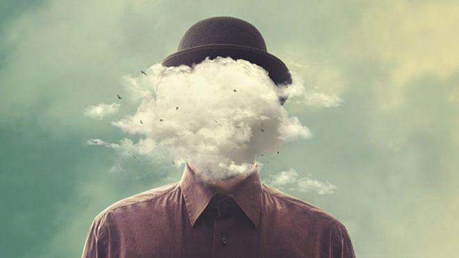 Ilustração de homem com nuvem de fumaça na cara