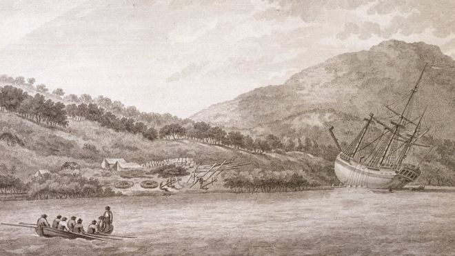 View of the Endeavour River Whole folio A view of the Endeavour River New Holland with the Endeavour laid on shore in order to repair the damage which she received on the rocks; June-July 1770.
