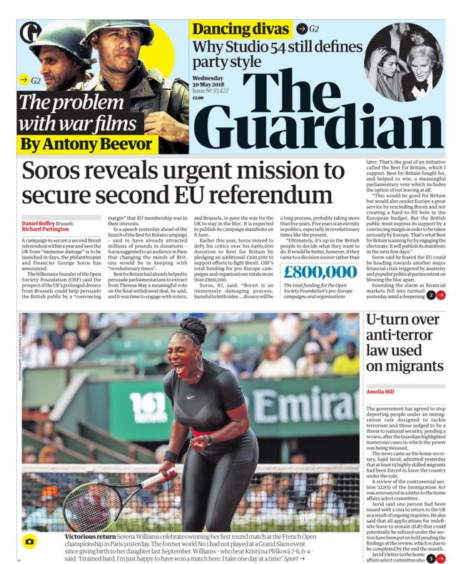 Guardian front page - 30/05/18