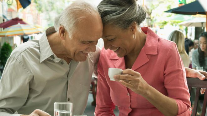 Older people sharing an intimate moment