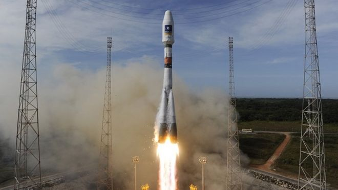 Soyuz rocket carrying Galileo GPS Satellites