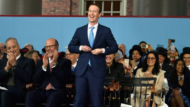 Chief executive Mark Zuckerberg at Harvard in 2017