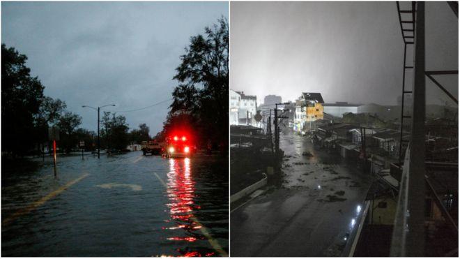 Ruas afetadas por tempestades tropicais no EUA de um lado e, em outra foto, nas Filipinas