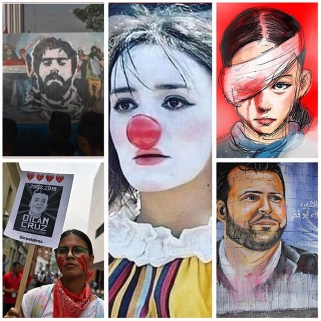 photo composition of faces of protest around the world