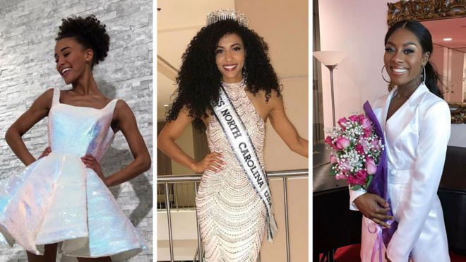 First time black women win all three biggest US pageants - BBC News