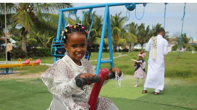A child playing in a park in Mogadishu, Somalia in May 2020